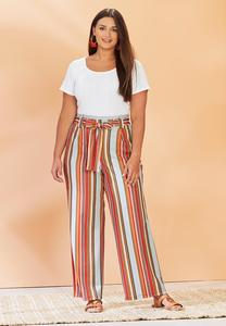 Plus Size Striped Paperbag Palazzo Pants