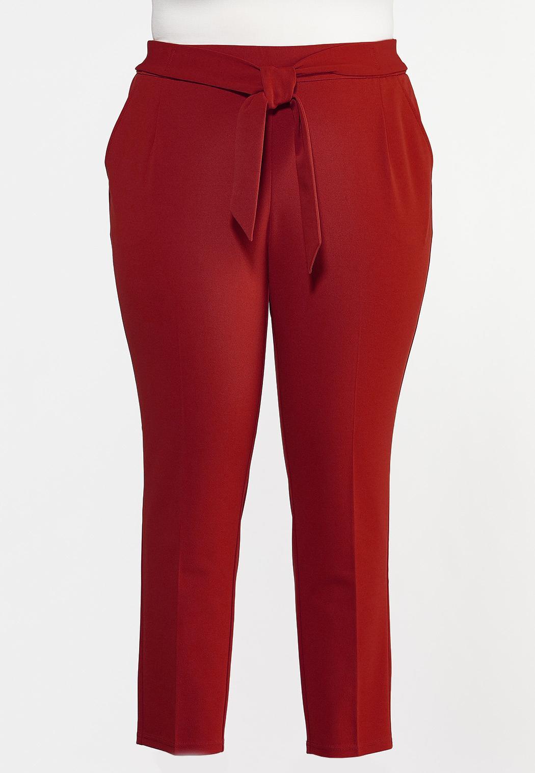 Plus Size Slim Tie Waist Pants