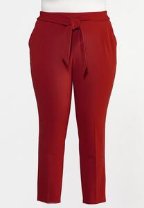 Plus Size Slim Tie Waist Pants