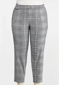 Plus Size Plaid Belted Bengaline Pants
