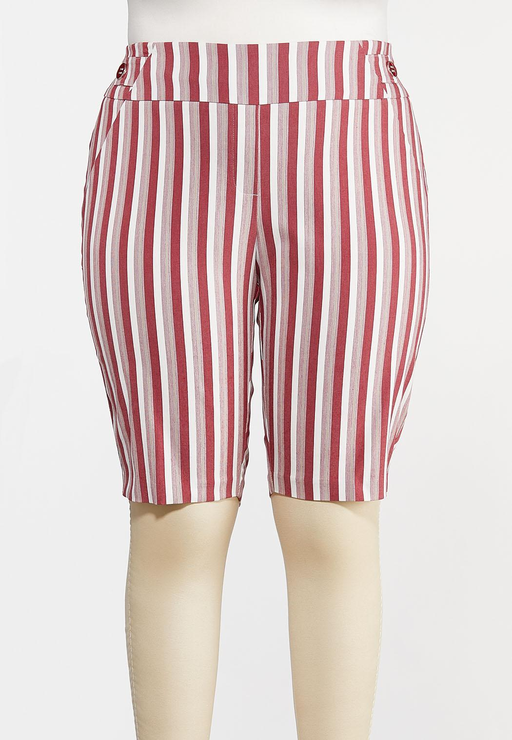 Plus Size Chili Stripe Bermuda Shorts