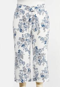 Plus Size Textured Floral Pants