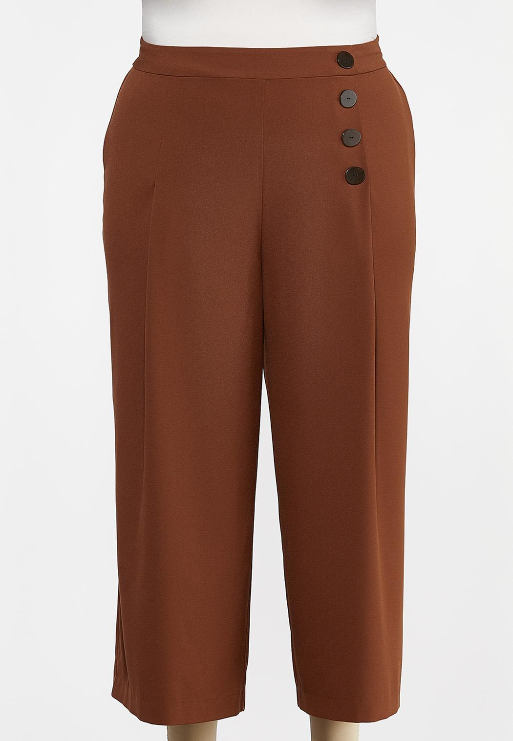 Plus Size Cropped Button Front Pants