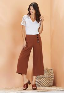 Plus Size Cropped Button Front Pants