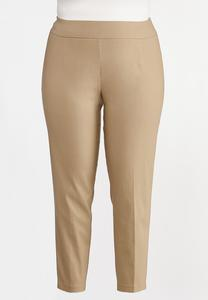 Plus Size Soft Woven Slim Pants