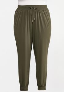 Plus Size Olive Utility Joggers