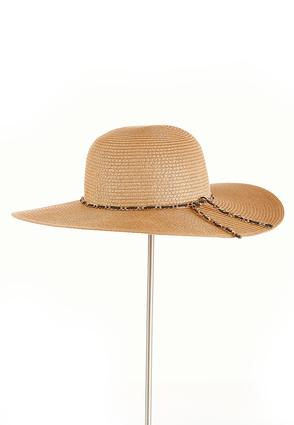 Chain Rim Straw Floppy Hat