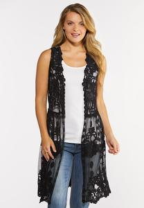 Plus Size Black Crochet Mesh Vest