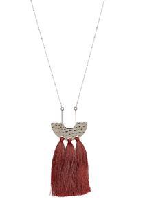 Hammered Metal Triple Tassel Necklace