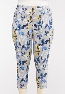Plus Size Cropped Blue Floral Leggings
