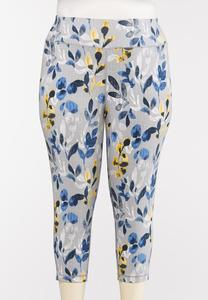 Plus Size Cropped Blue Floral Leggings