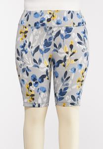 Plus Size Floral Biker Shorts
