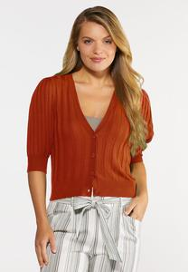 Plus Size Ribbed Cropped Cardigan