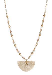 Rondelle Pearl Fan Pendant Necklace