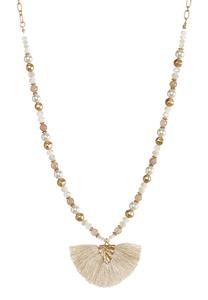 Rondelle Pearl Fan Pendant Necklace