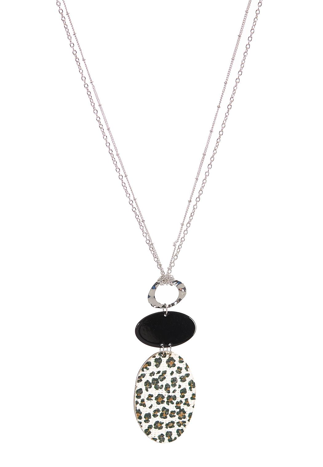 Leopard Leather Disc Necklace