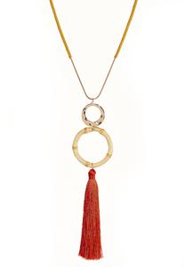 Bamboo Tassel Pendant Necklace