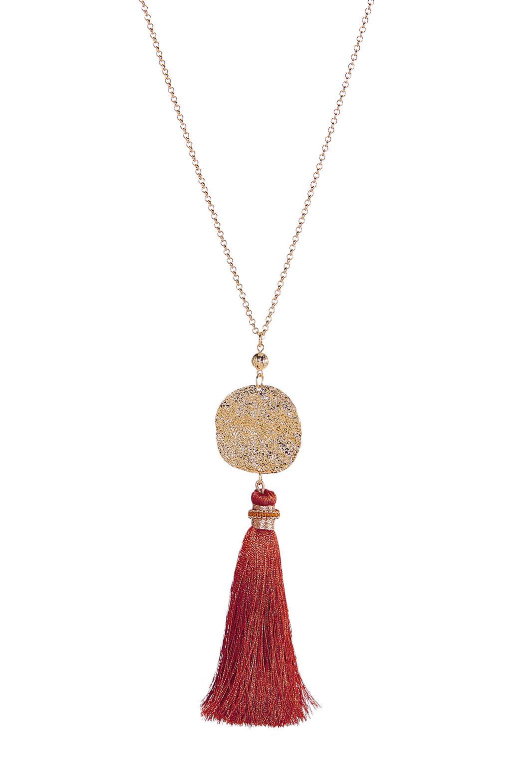 Hammered Disc Tassel Necklace