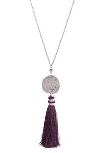 Hammered Disc Tassel Necklace