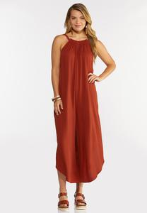 Plus Size Rust Beaded Strap Jumpsuit