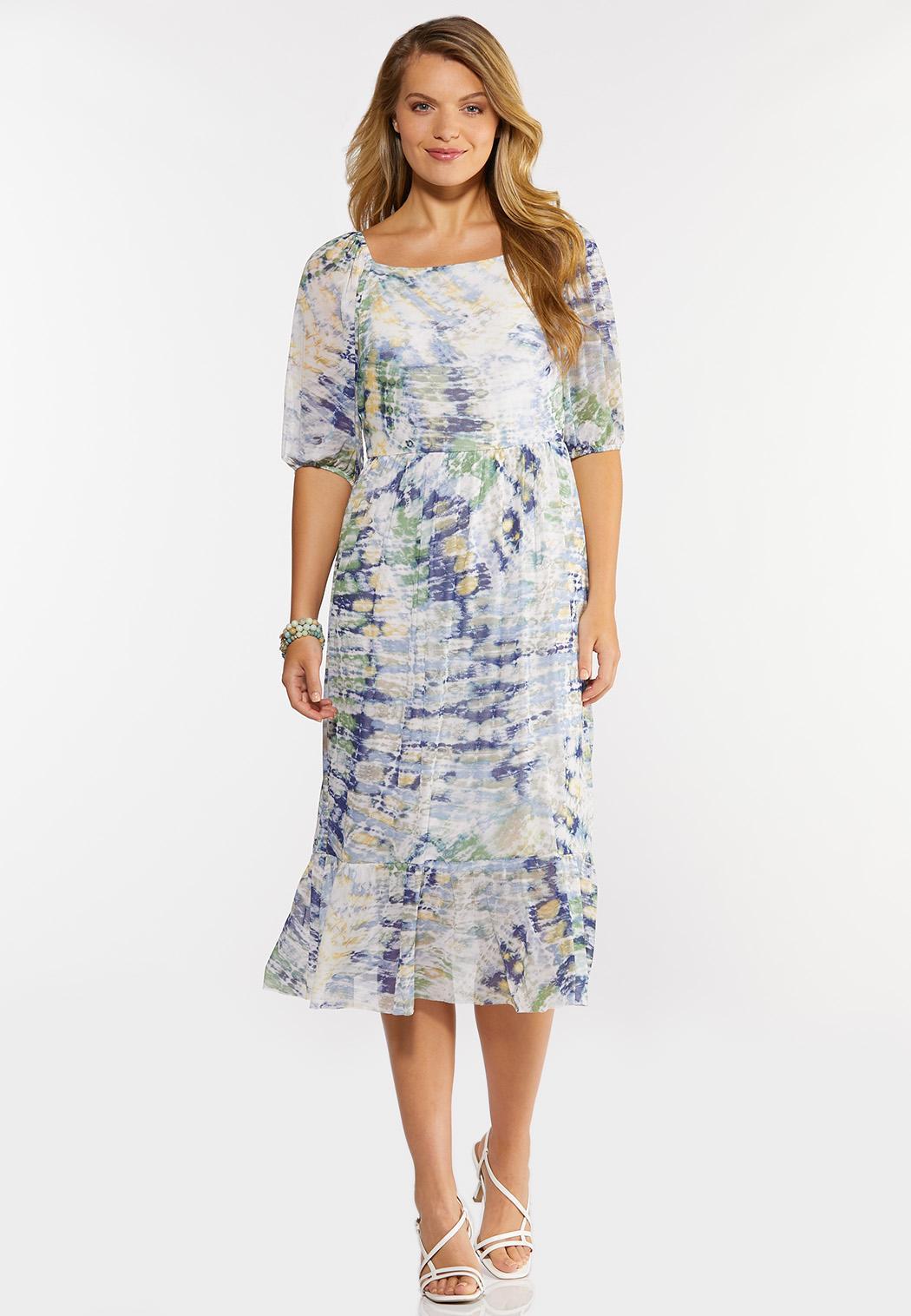 Plus Size Mesh Watercolor Midi Dress
