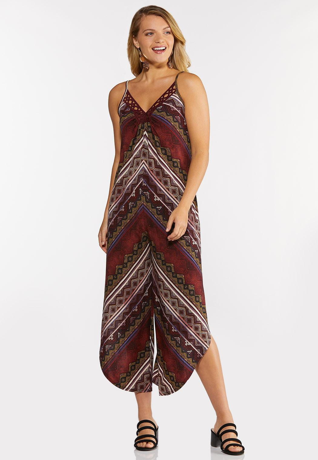 Cranberry Mitered Striped Jumpsuit