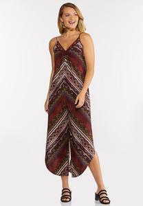 Plus Size Cranberry Mitered Striped Jumpsuit