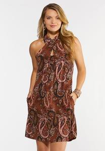 Paisley Fringe Tie Neck Dress