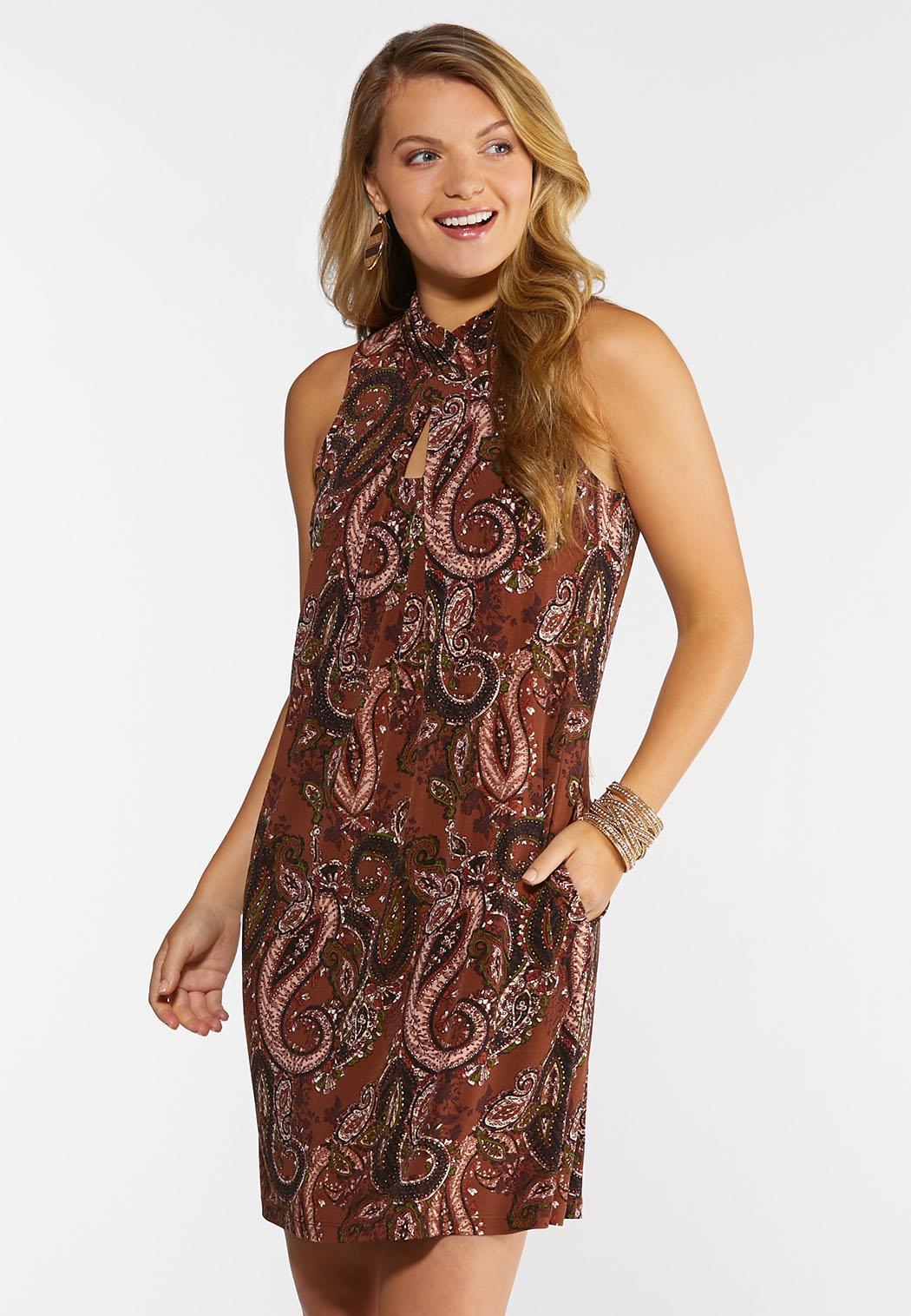 Plus Size Paisley Fringe Tie Neck Dress