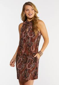 Plus Size Paisley Fringe Tie Neck Dress