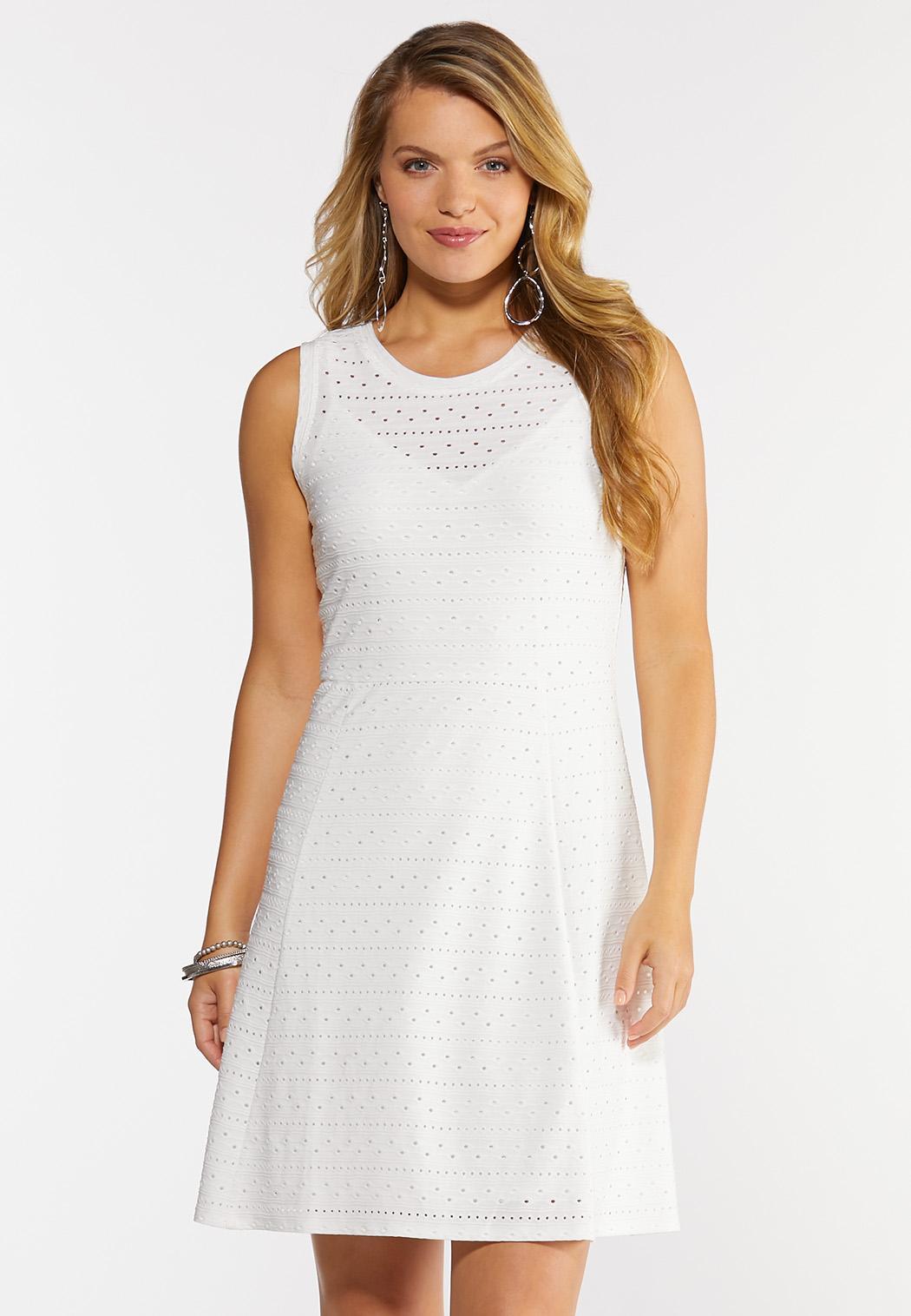 Plus Size White Eyelet Knit Dress