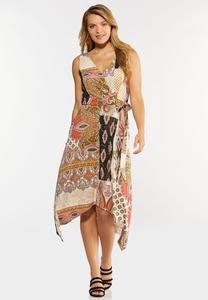 Plus Size Paisley Hanky Hem Dress