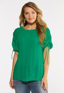 Plus Size Gauzy Cinch Sleeve Top
