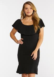 Plus Size Flounced Collar Sheath Dress