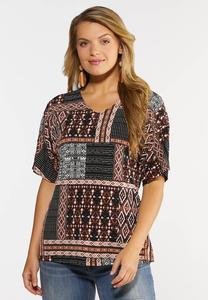 Plus Size Tribal Patchwork Top