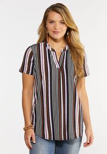 Plus Size Lilac Stripe Top