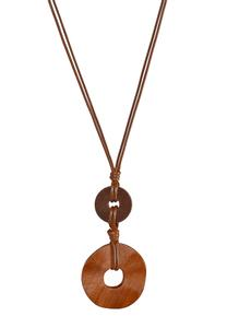 Wood Ring Cord Necklace