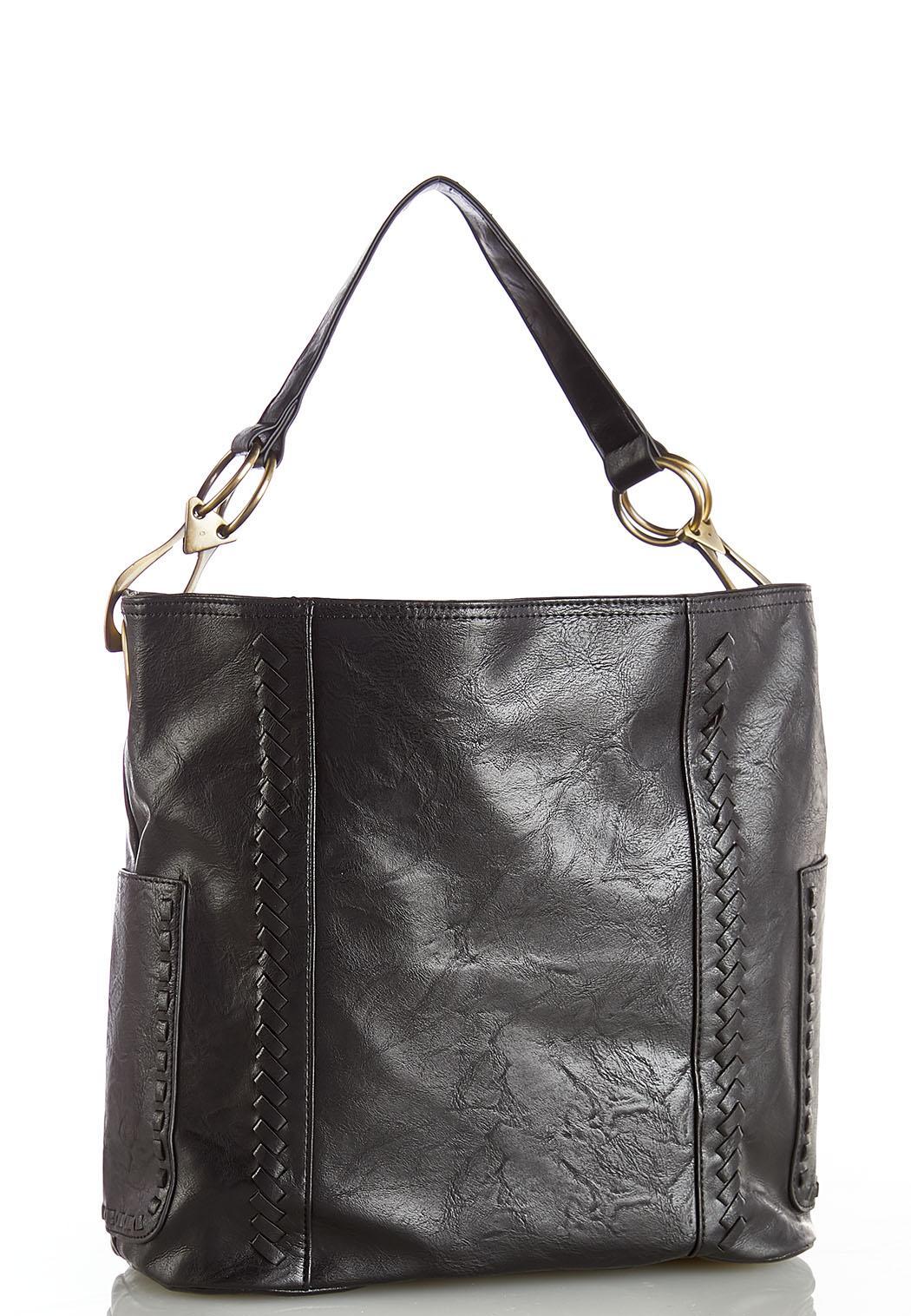 Whipstitch Pocket Hobo Handbag