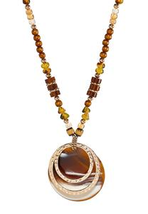 Oversized Mixed Bead Pendant Necklace