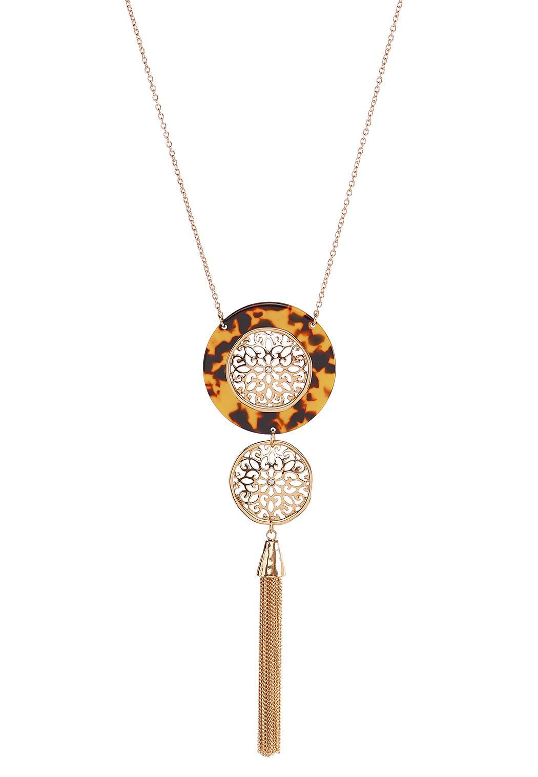 Tortoise Medallion Tassel Necklace