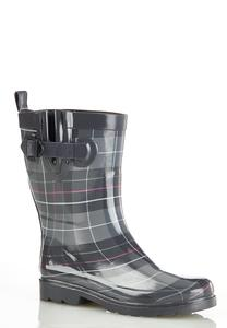 Plaid Mid Shaft Rain Boots