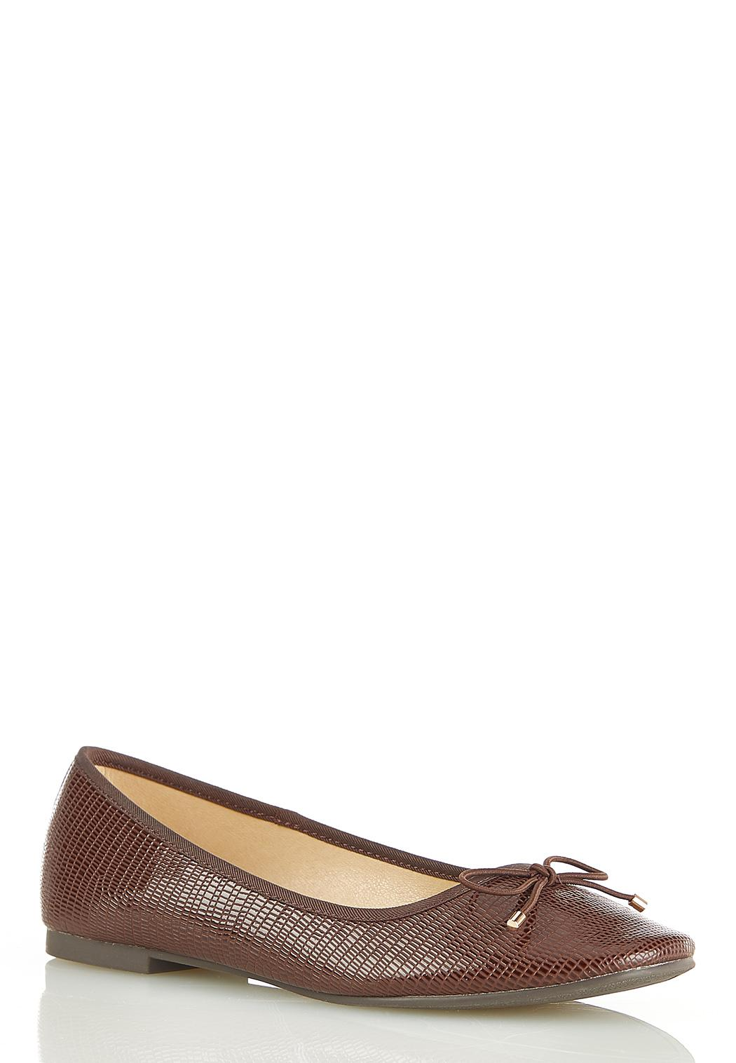 Textured Leather Bow Flats