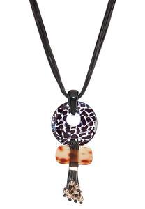 Lucite Pendant Cord Necklace
