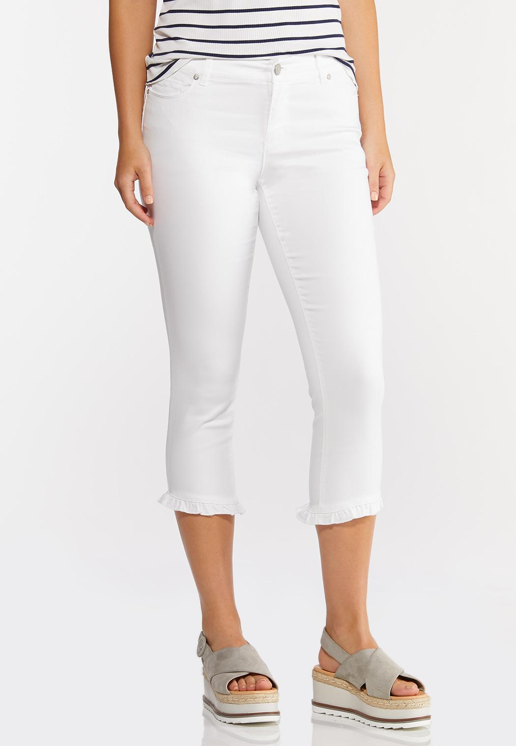 Cropped Ruffle Skinny Jeans