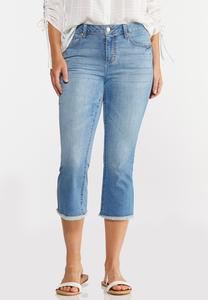 Cropped Frayed Jeans