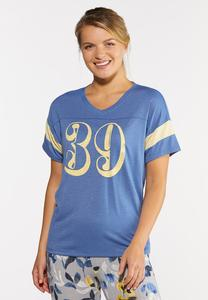Plus Size Sporty Striped Sleeve Tee