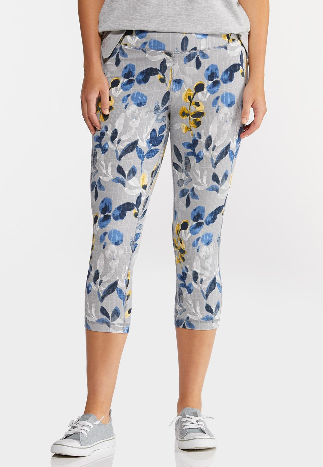 Cropped Blue Floral Leggings