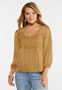 Gold Smocked Poet Top