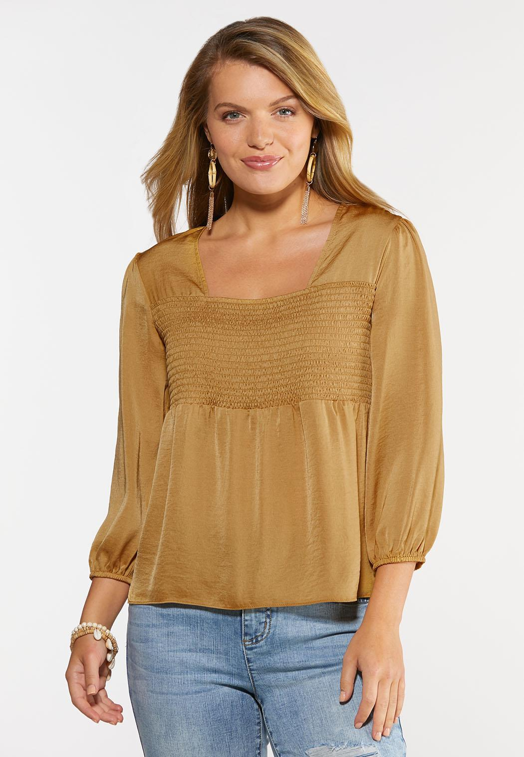 Plus Size Gold Smocked Poet Top