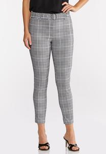 Plaid Belted Bengaline Pants